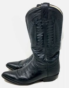 Rancho Cowboy Boots Black Stitched Leather 8.5